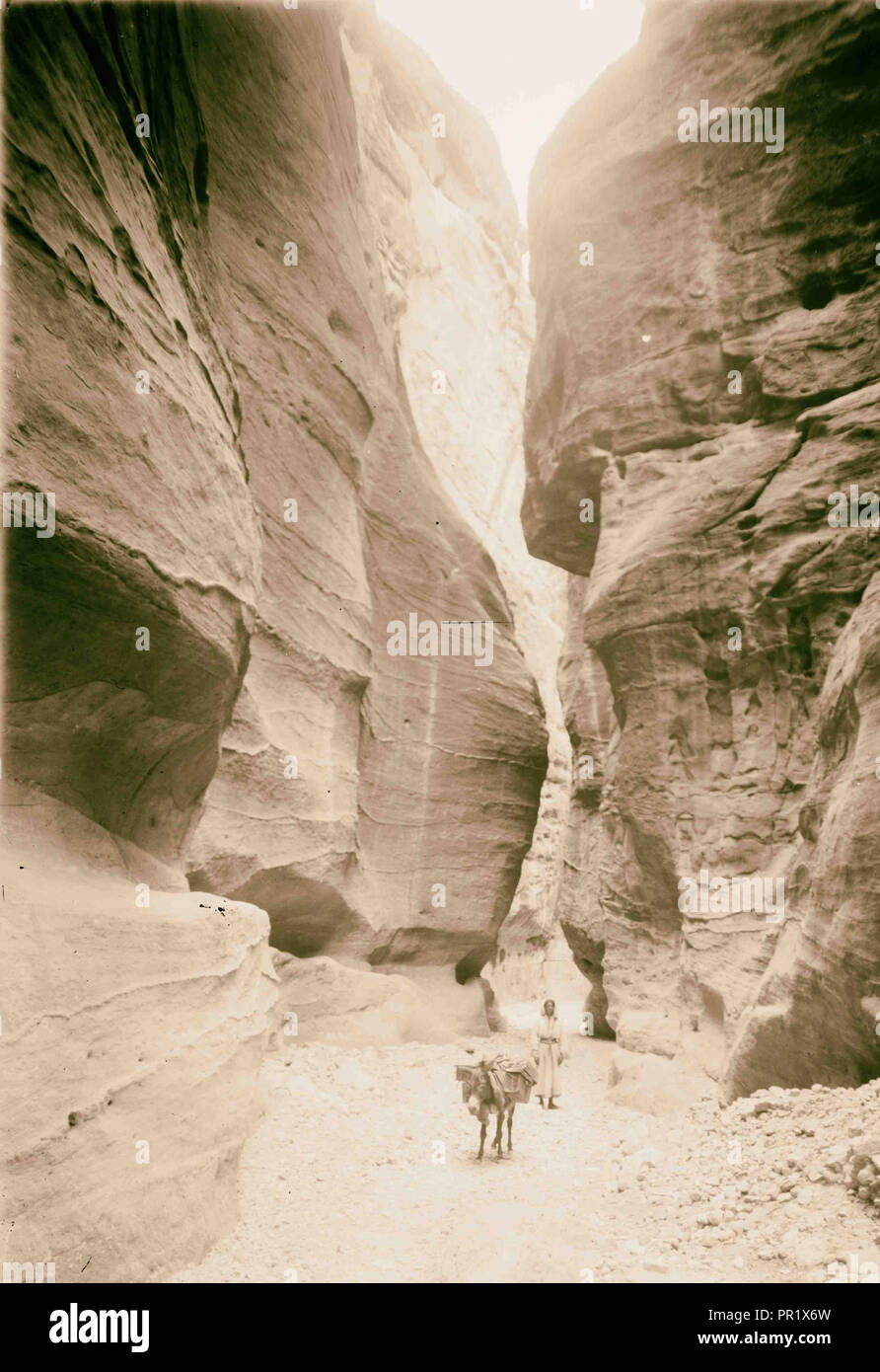 Petra, es Sik. 1898, Jordanie, Petra, la ville disparue Photo Stock
