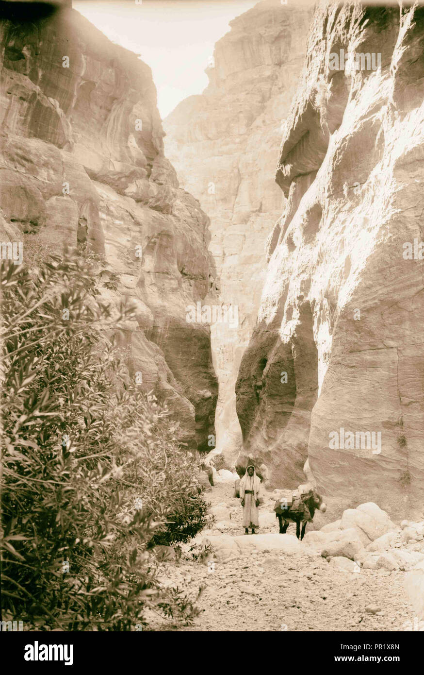 Petra, Sik entrée. 1898, Jordanie, Petra, la ville disparue Photo Stock