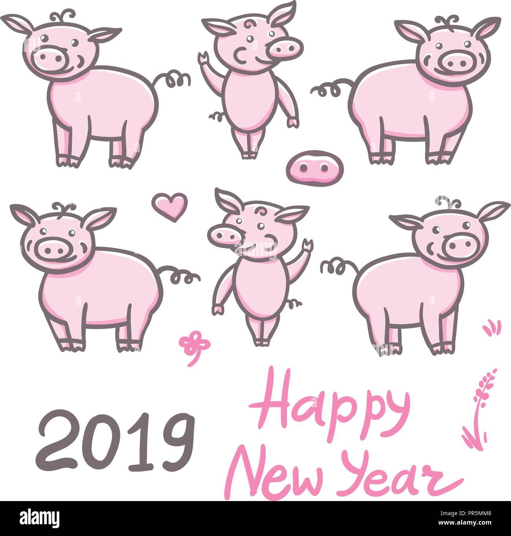Dessin De Signe Chinois jeu de cochons doodle mignon dessin au crayon. autocollant