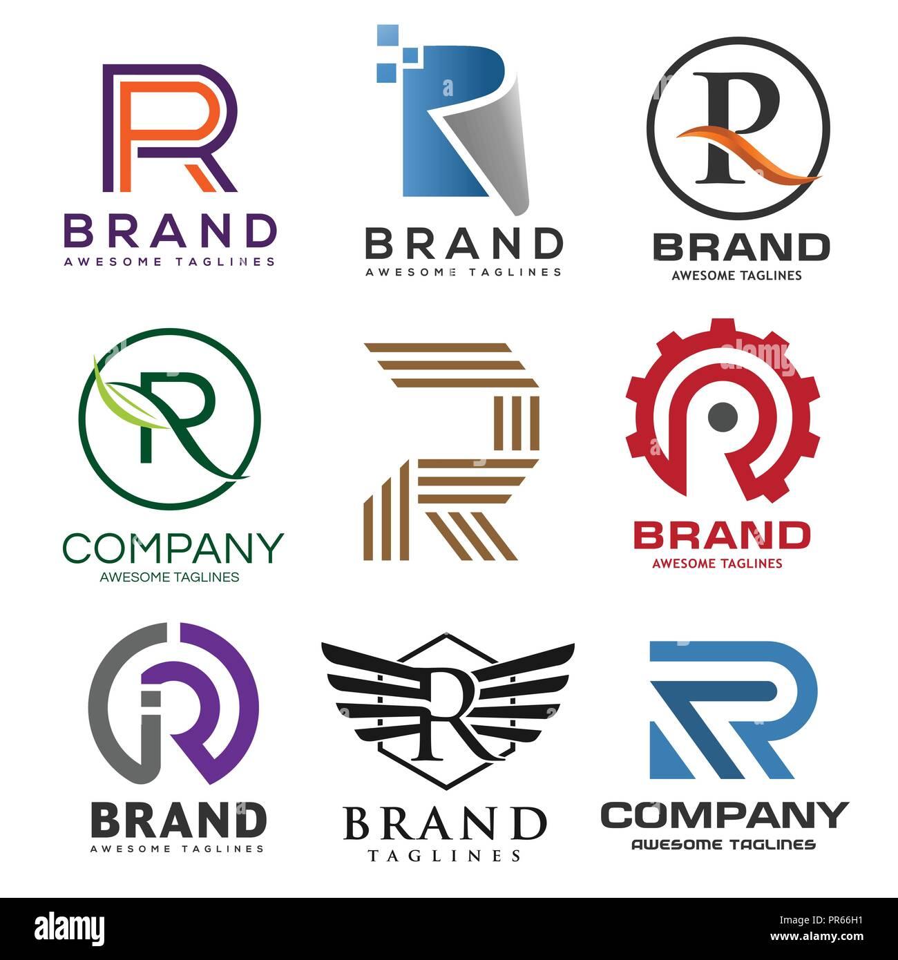 154c44e321cc7 Creative lettre R logo, meilleure lettre R set design de logo, conception de  logo d'entreprise abstrait moderne,modèle de lettre R modèle Logo  modifiable ...