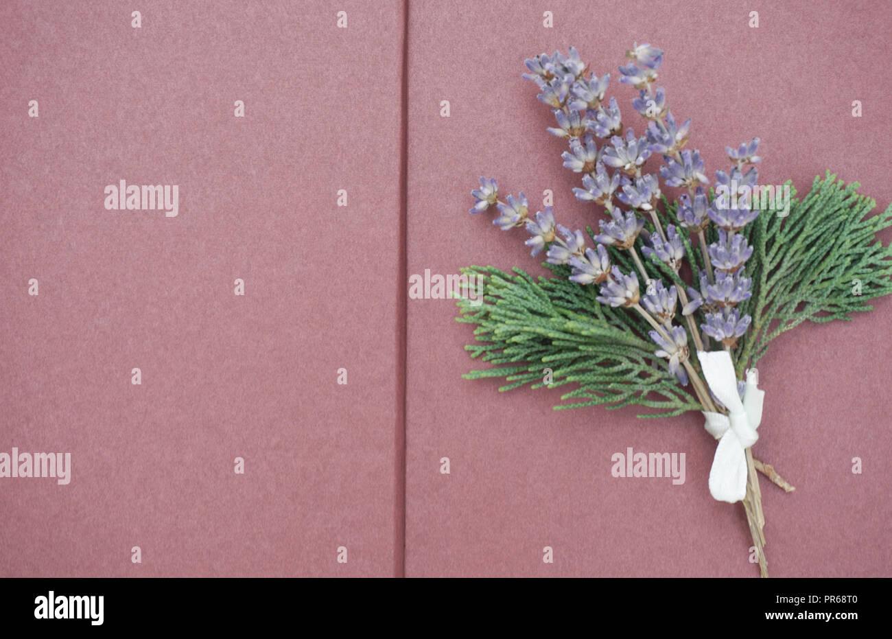 Ouvrir les pages vierges de scrapbook avec bouquet de lavande lilas et branches vertes sur le côté droit. Copie gratuite de l'espace pour texte Photo Stock