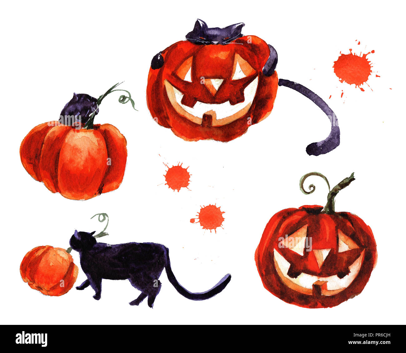 Jeu D Halloween De Symbole Illustration A L Aquarelle A La