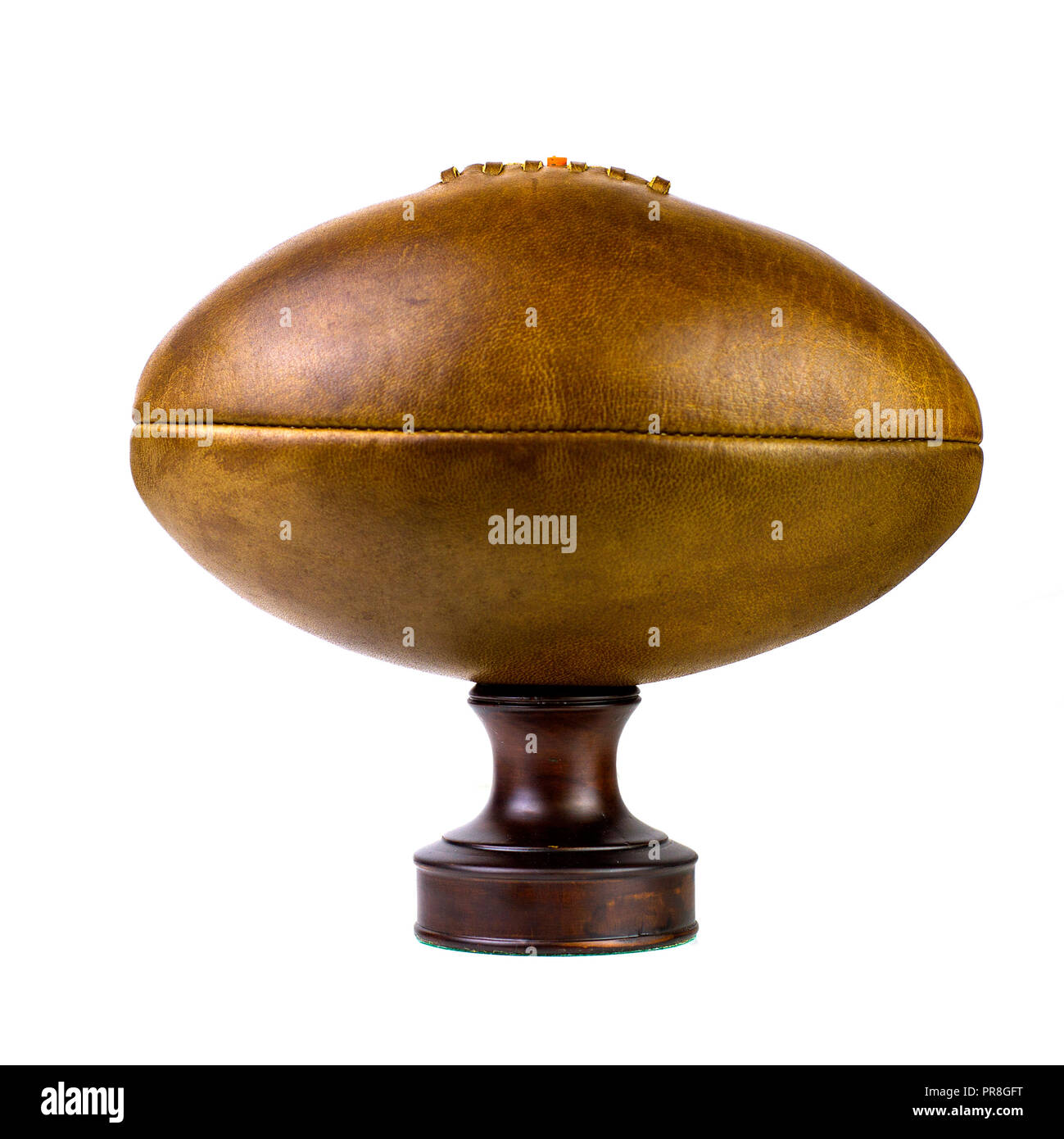 Vintage lace up leather rugby soccer ball Photo Stock