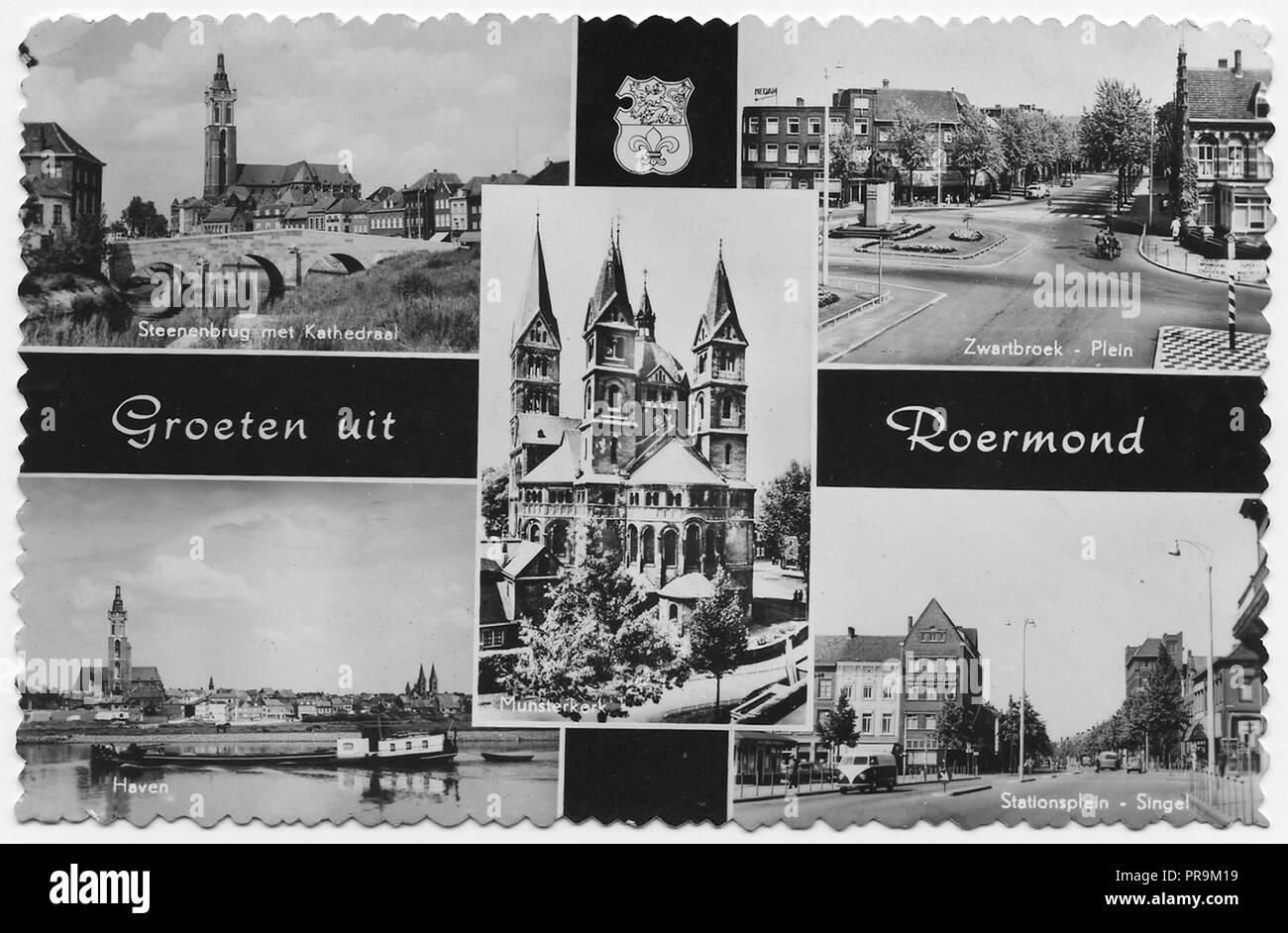 Une carte postale de Roermond Pays-Bas daté 1962. Une ville historiquement importante, sur la partie inférieure de la Roer rive est de la Meuse, la ville remonte à 1231 Photo Stock