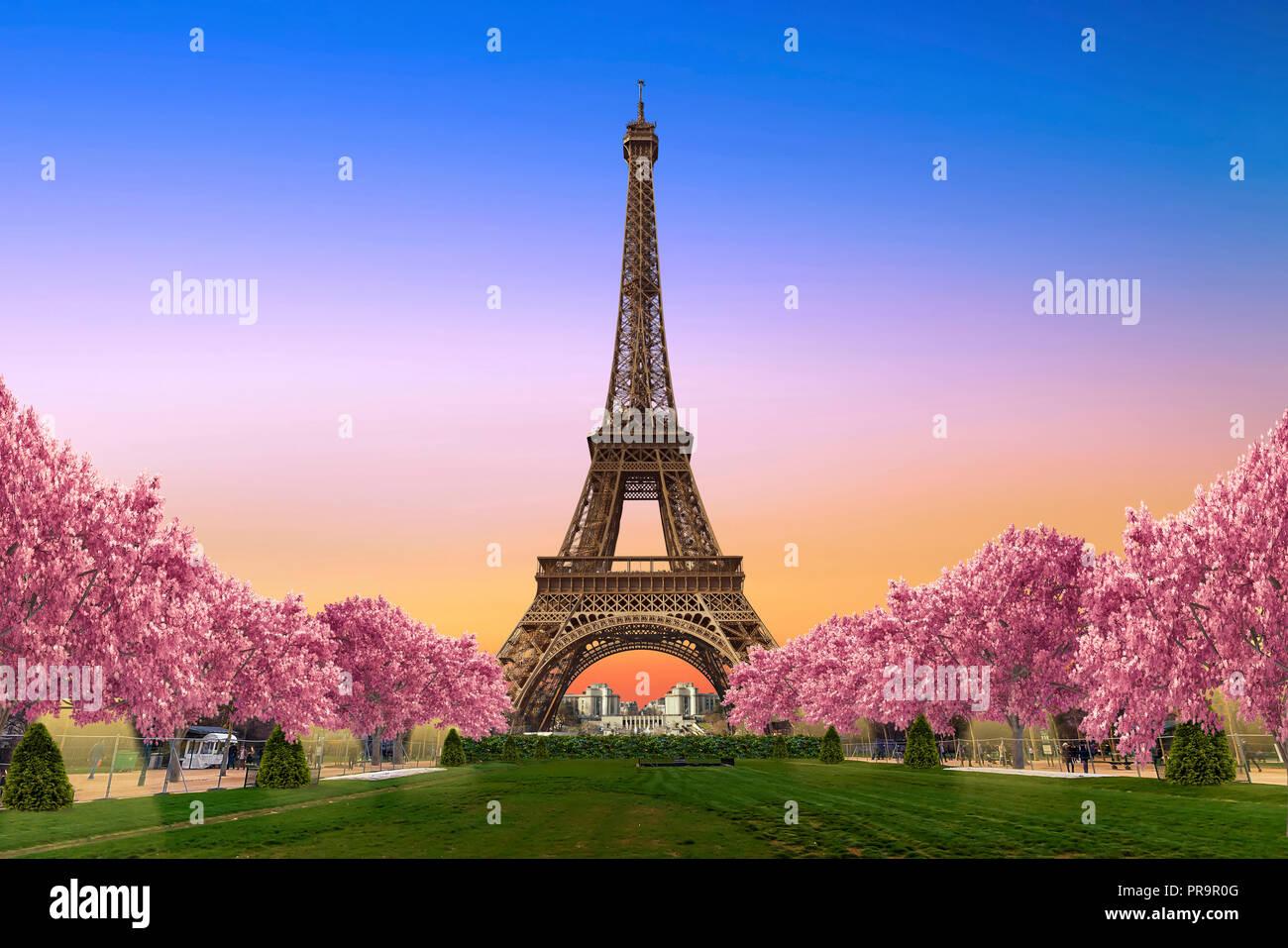 La Tour Eiffel depuis les Camps de Mars au coucher du soleil Photo Stock
