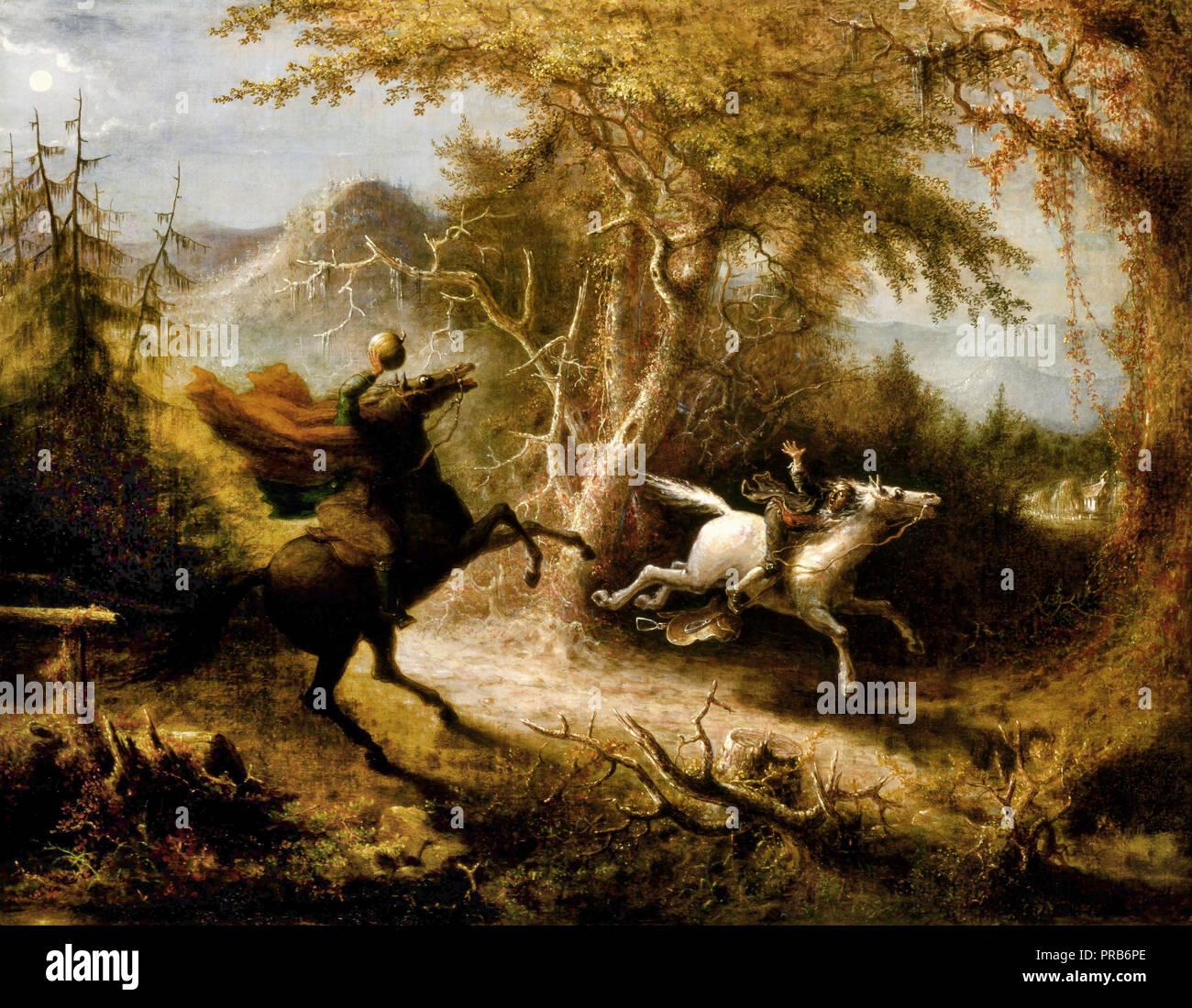 John Quidor, le Cavalier sans tête poursuivant Ichabod Crane 1858 Huile sur toile, Smithsonian American Art Museum, Washington, D.C., USA. Photo Stock