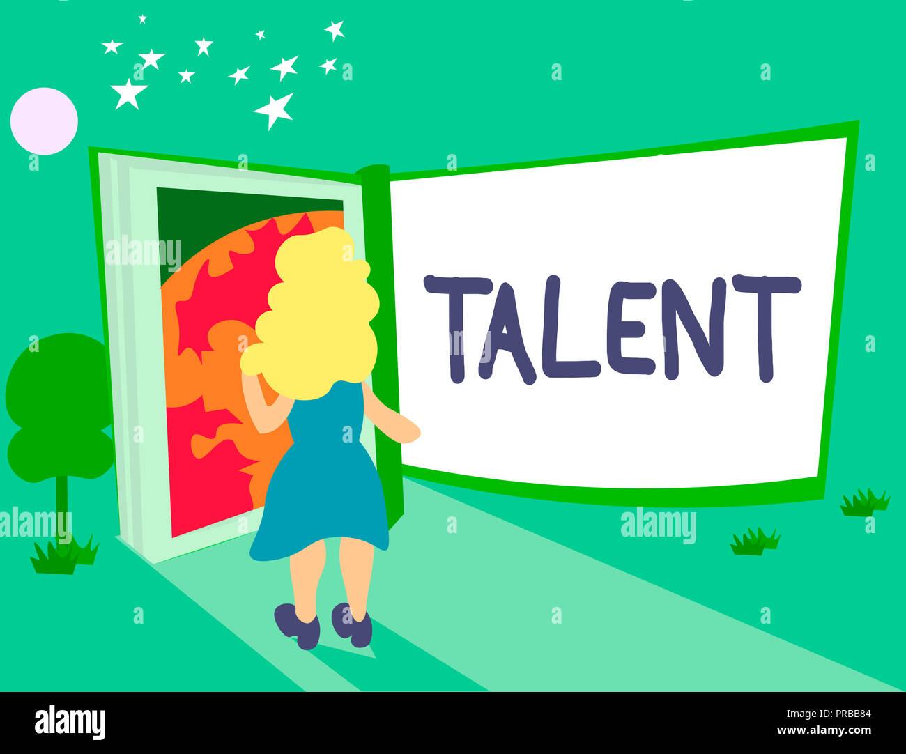 Texte de l'écriture de talent. Sens Concept aptitude naturelle ou une compétence avec les loisirs ou le sport vous a obtenu. Photo Stock