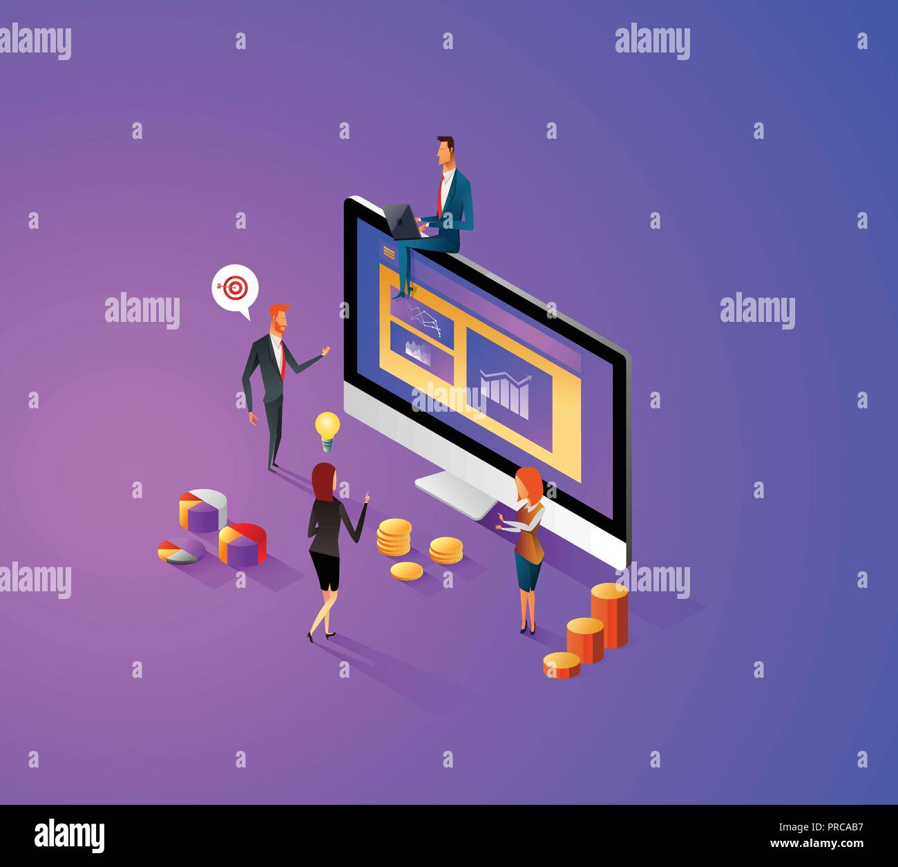 Design plat moderne concept isométrique de gérer vos données de site web et site web mobile. Modèle de page d'atterrissage, thème violet foncé. Facile à modifier et à personnaliser. Vector illustration. Illustration de Vecteur