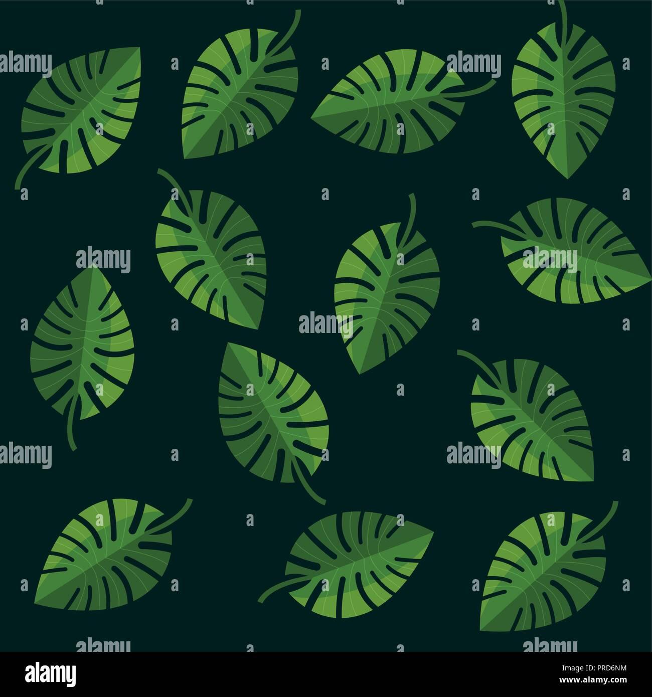 Feuilles de palmier tropical monstera green background vector illustration Illustration de Vecteur