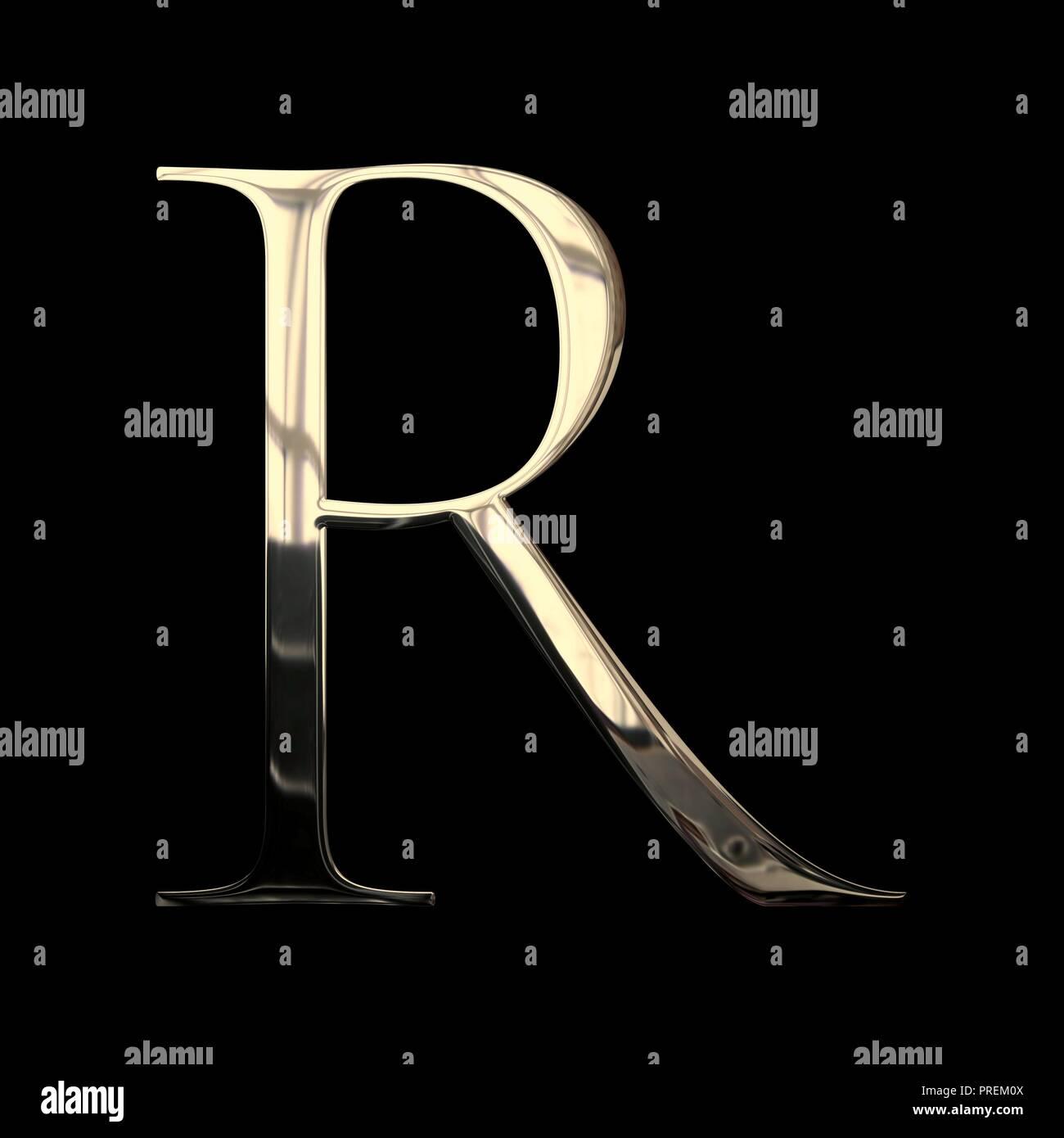 Lettre Initiale R Avec Rendu 3d Et La Texture De Métal