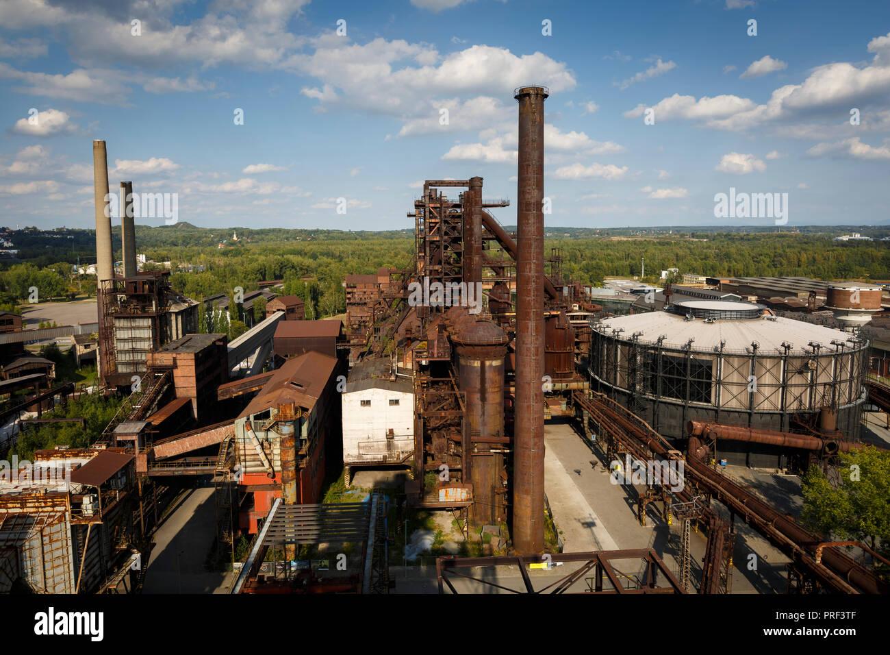 Ostrava, République tchèque - Le 21 août 2018: Avis de Vitkovice inférieur, un site national du patrimoine industriel composé d'une collection unique de indust Photo Stock