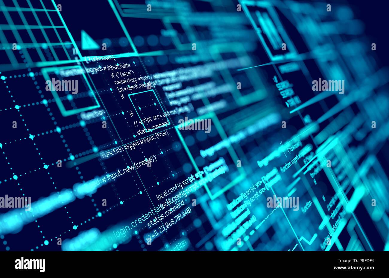 L'interface d'information futuriste avec les connexions de données et schémas de réseau. 3D illustration. Banque D'Images