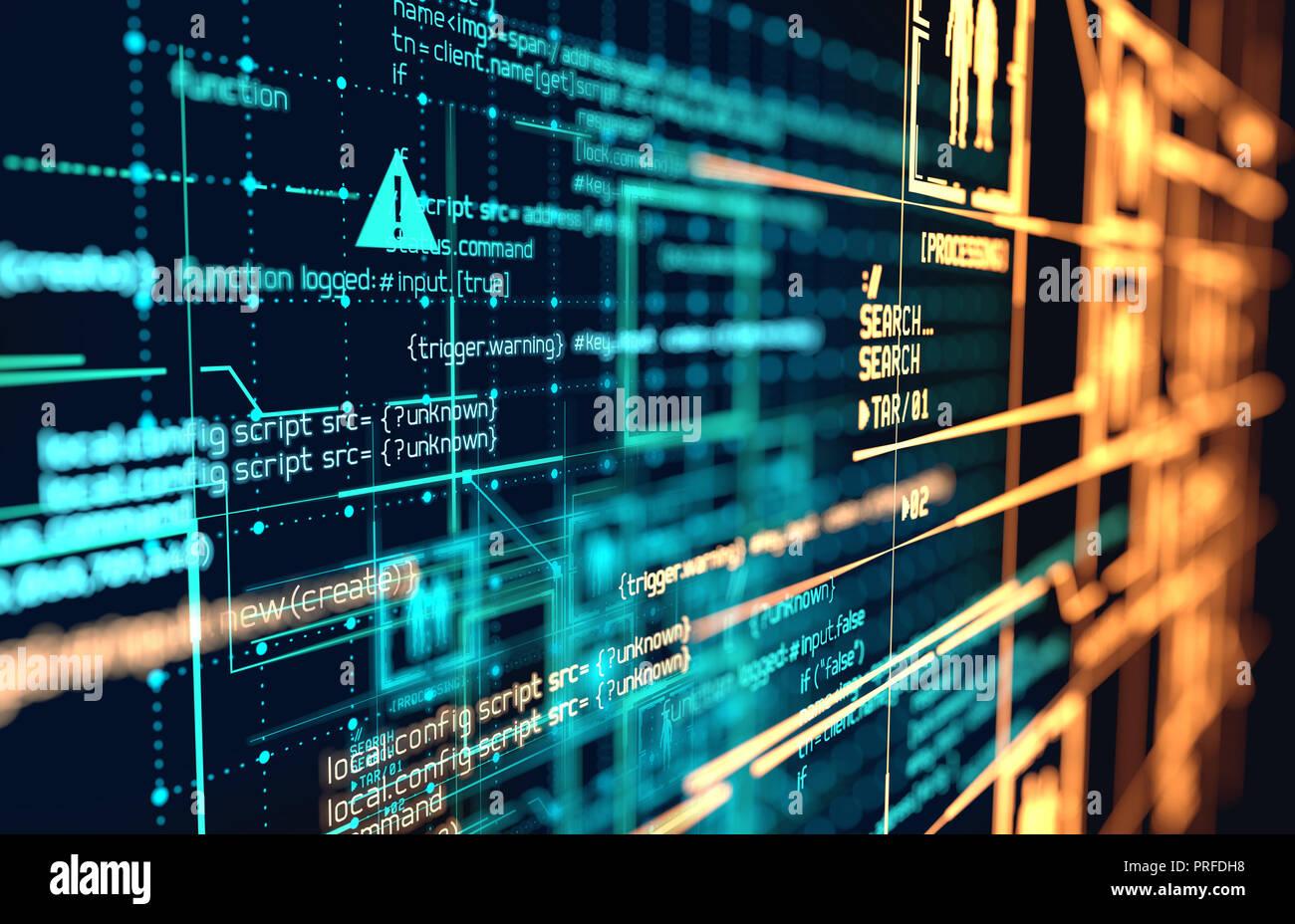 Le code de programmation futuriste et de grandes connexions de données et schémas de réseau. 3D illustration. Banque D'Images