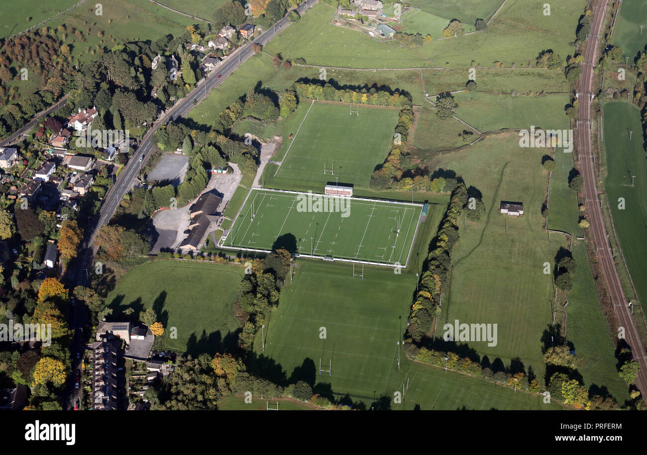Vue aérienne de Keighley Rugby Union Football Club, West Yorkshire Photo Stock
