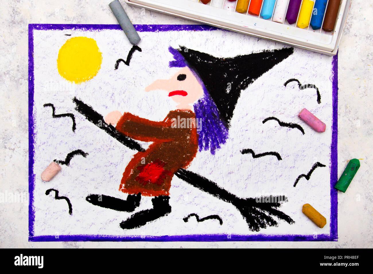 Dessin A La Main En Couleur Vieux Moche Sorciere Volant Sur Un Balai Dessin Halloween Sur Fond Blanc Photo Stock Alamy