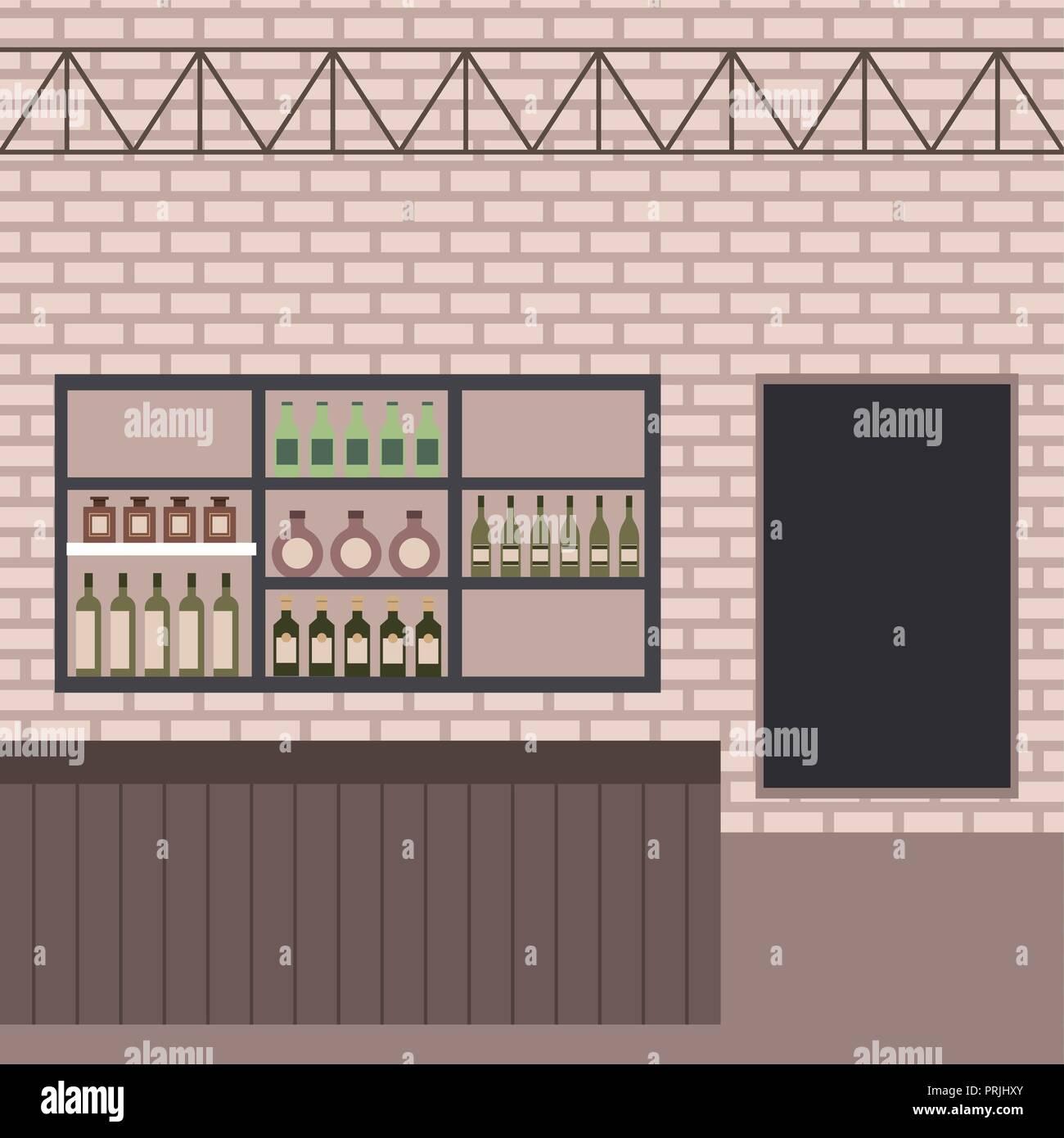 Etagere Sur Mur En Brique bar comptoir boissons bouteilles étagère mur brique vecteurs