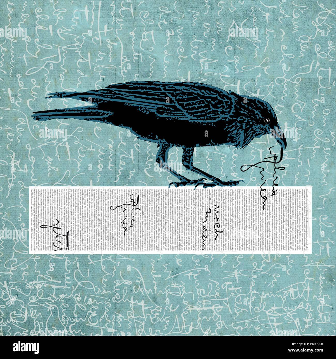 Copie de texte du corbeau Banque D'Images