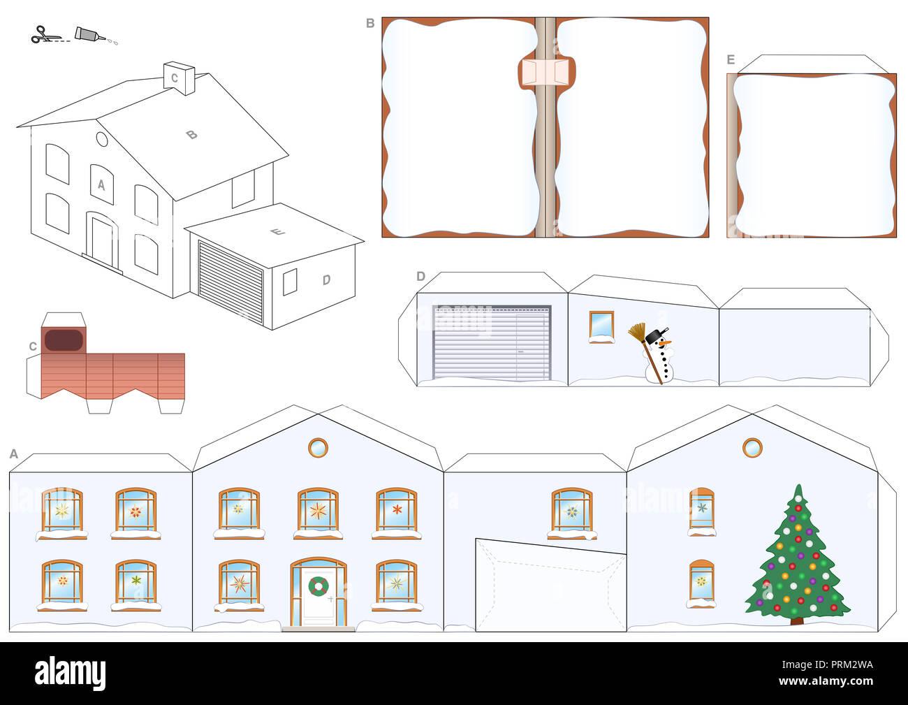 Modele De Papier D Une Maison En Hiver Avec L Arbre De Noel Bonhomme De Neige Et Les Toits Et Une Cheminee Pour Le Pere Noel Facile A Faire Photo Stock Alamy