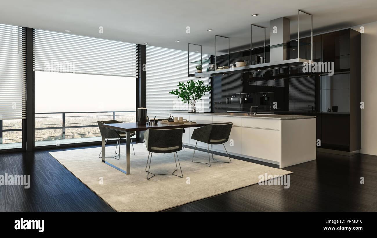 Salle à manger et cuisine moderne avec intérieur noir et ...