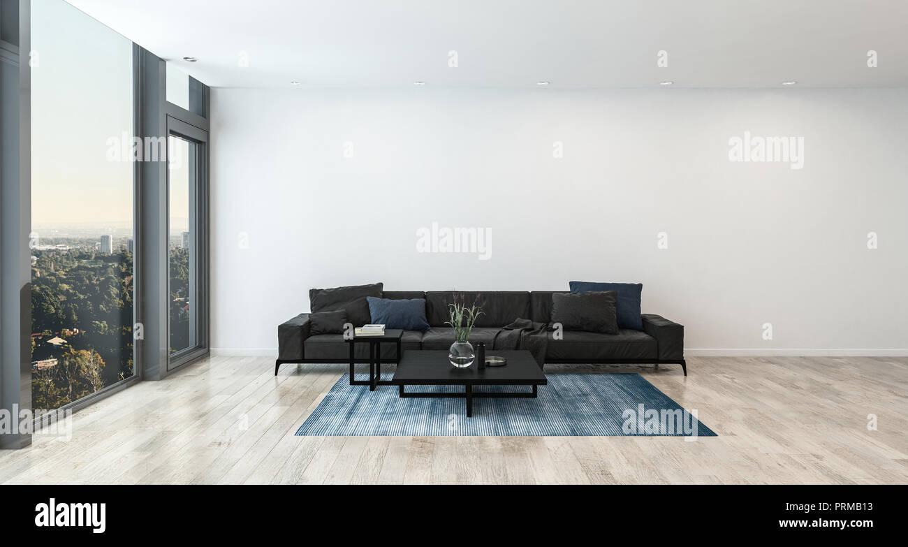 Salon moderne avec canapé noir près de haute fenêtre et mur blanc en ...