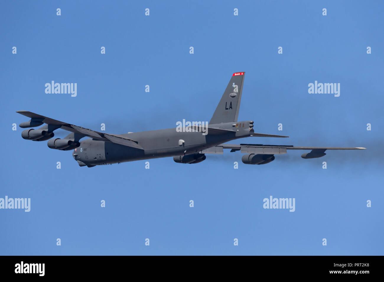 United States Air Force (USAF) Boeing B-52H Stratofortress bombardier stratégique (61-0012) à partir de la Base aérienne de Barksdale. Banque D'Images