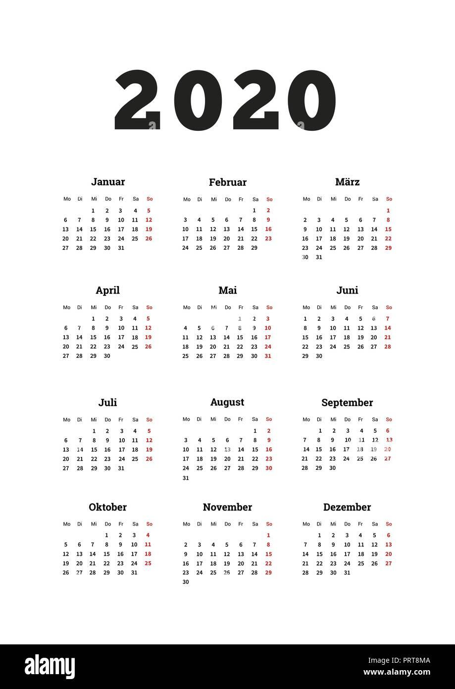 Calendrier Allemand 2020.L Annee 2020 Calendrier Simple Sur La Langue Allemande