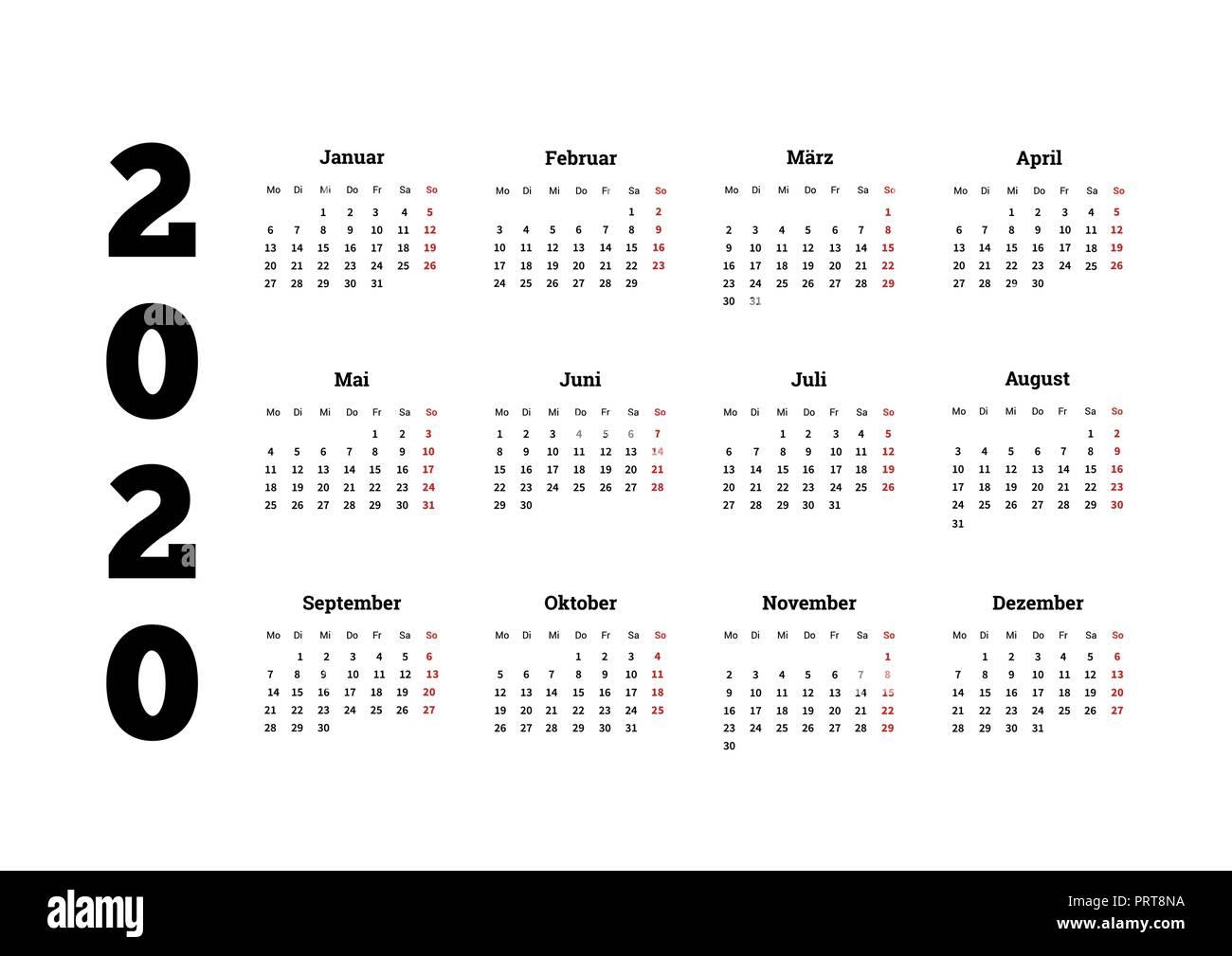 Calendrier Allemand 2020.L Annee 2020 Calendrier Simple Sur La Langue Allemande On