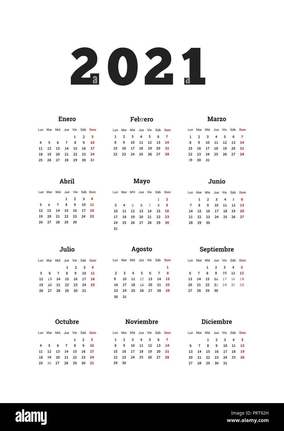 L'année 2021 calendrier simple en espagnol, format A4 feuille