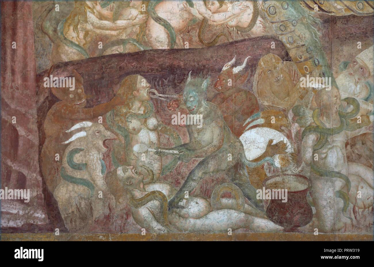 """Buonamico Buffalmacco. Le Triomphe de la mort. Détail """"l'enfer"""". Tourments. 1338-39. Camposanto. Pise. L'Italie. Banque D'Images"""