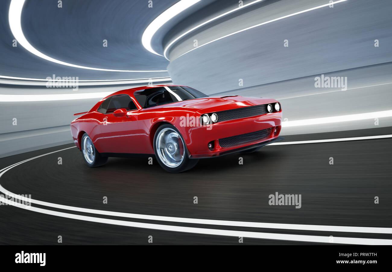 Angle de vue avant un rouge générique brandless American muscle car dans un tunnel avec le flou . Concept de transport . Le Rendu 3D . Banque D'Images