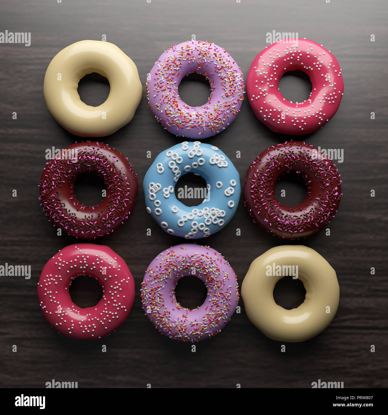 Haut afficher divers donut sur table en bois . Le rendu 3D . Banque D'Images