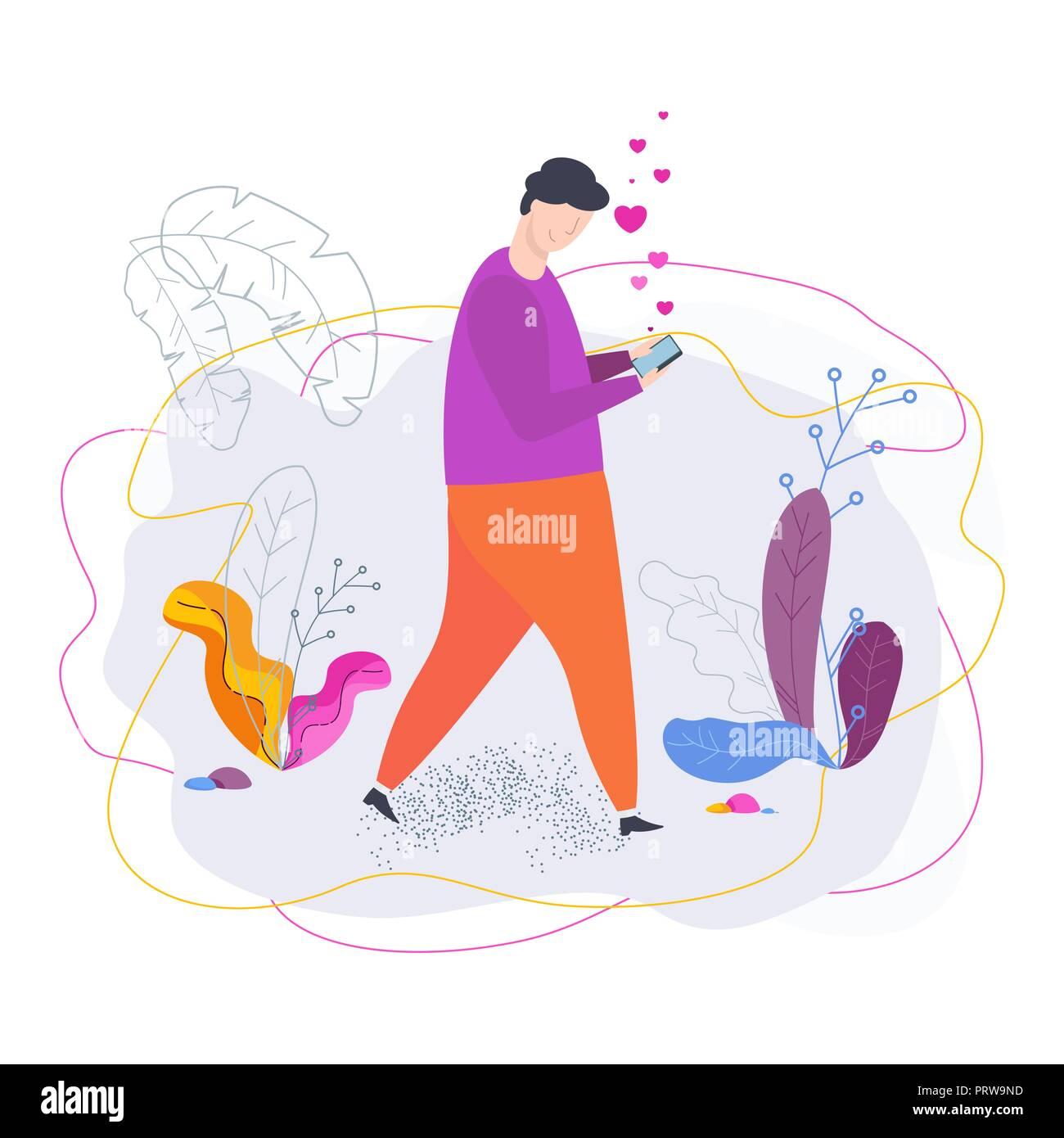 Jeune homme avec le smartphone communique en rencontre chat. Photo Stock 9877691fbb3c