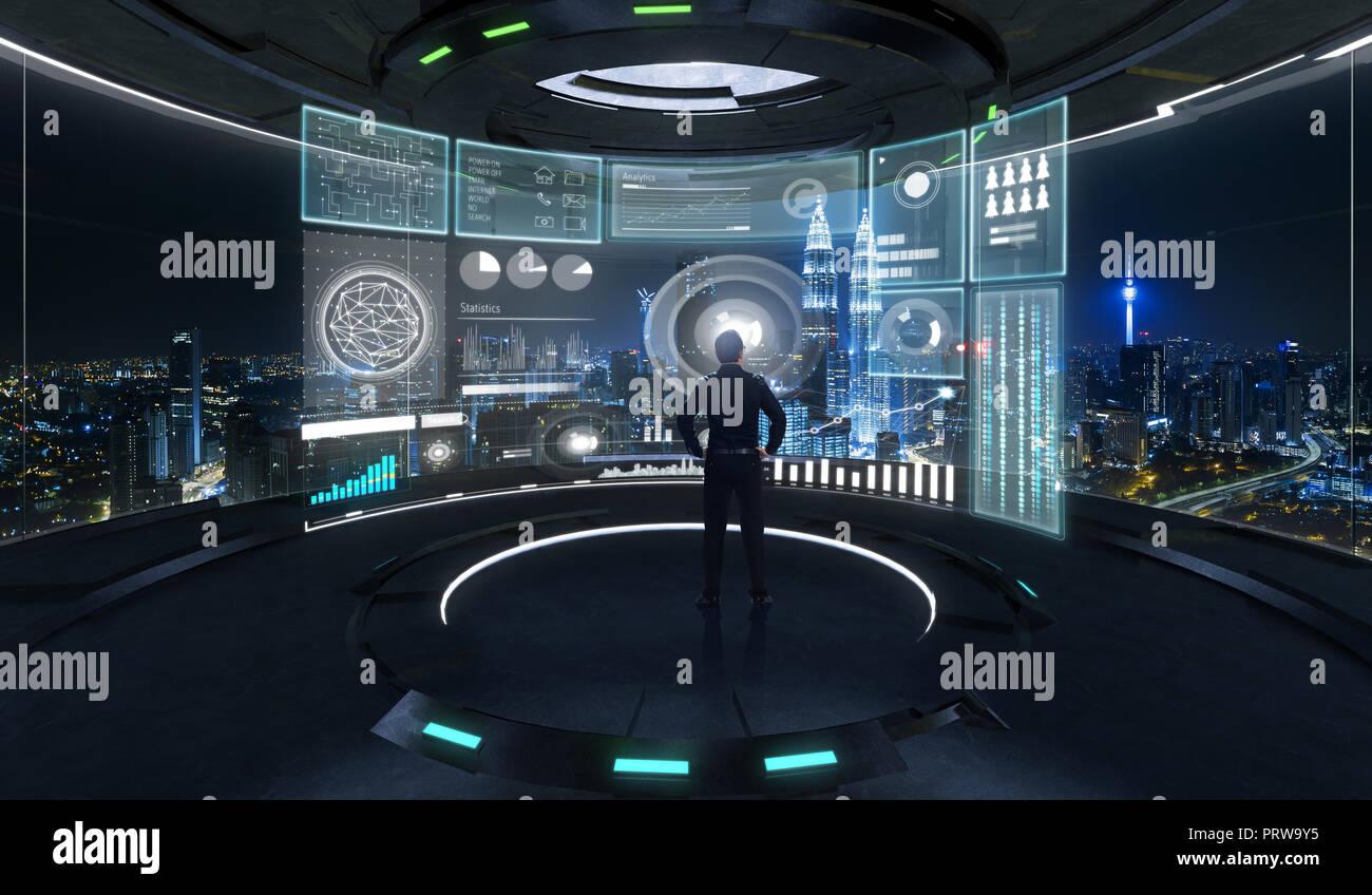 L'analyse d'un homme d'intelligence d'analyse d'affaires avec un écran virtuel montrant les tableaux de statistiques de ventes . La technologie moderne et à la stratégie de l'entreprise Banque D'Images