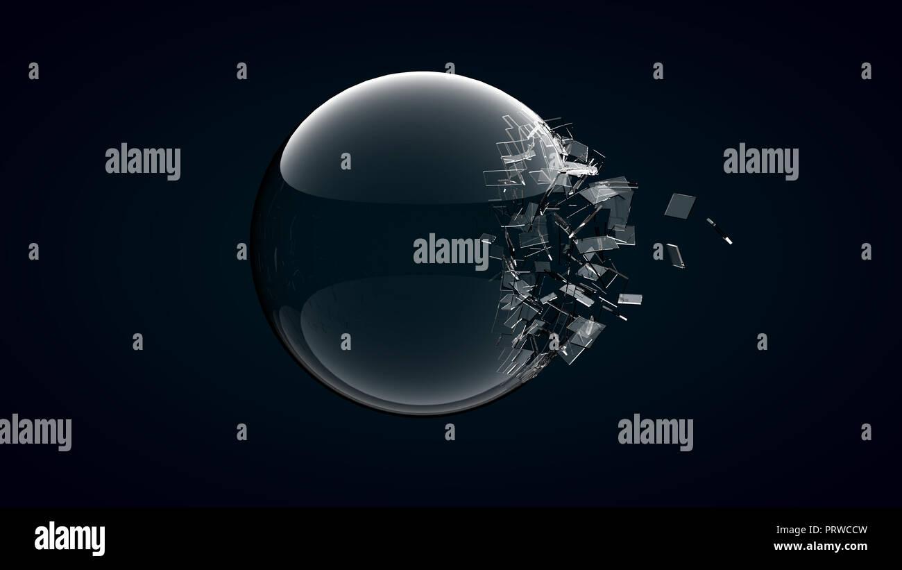 Le rendu 3D sphère de verre cassée sur fond sombre . Photo Stock