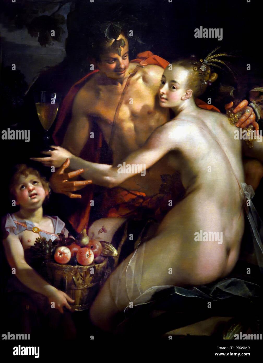 Bacchus, Cérès et Amor (1595 - 1605) par Hans von Aachen Allemagne Allemand 1552-1615. La mythologie grecque, romaine,, Photo Stock