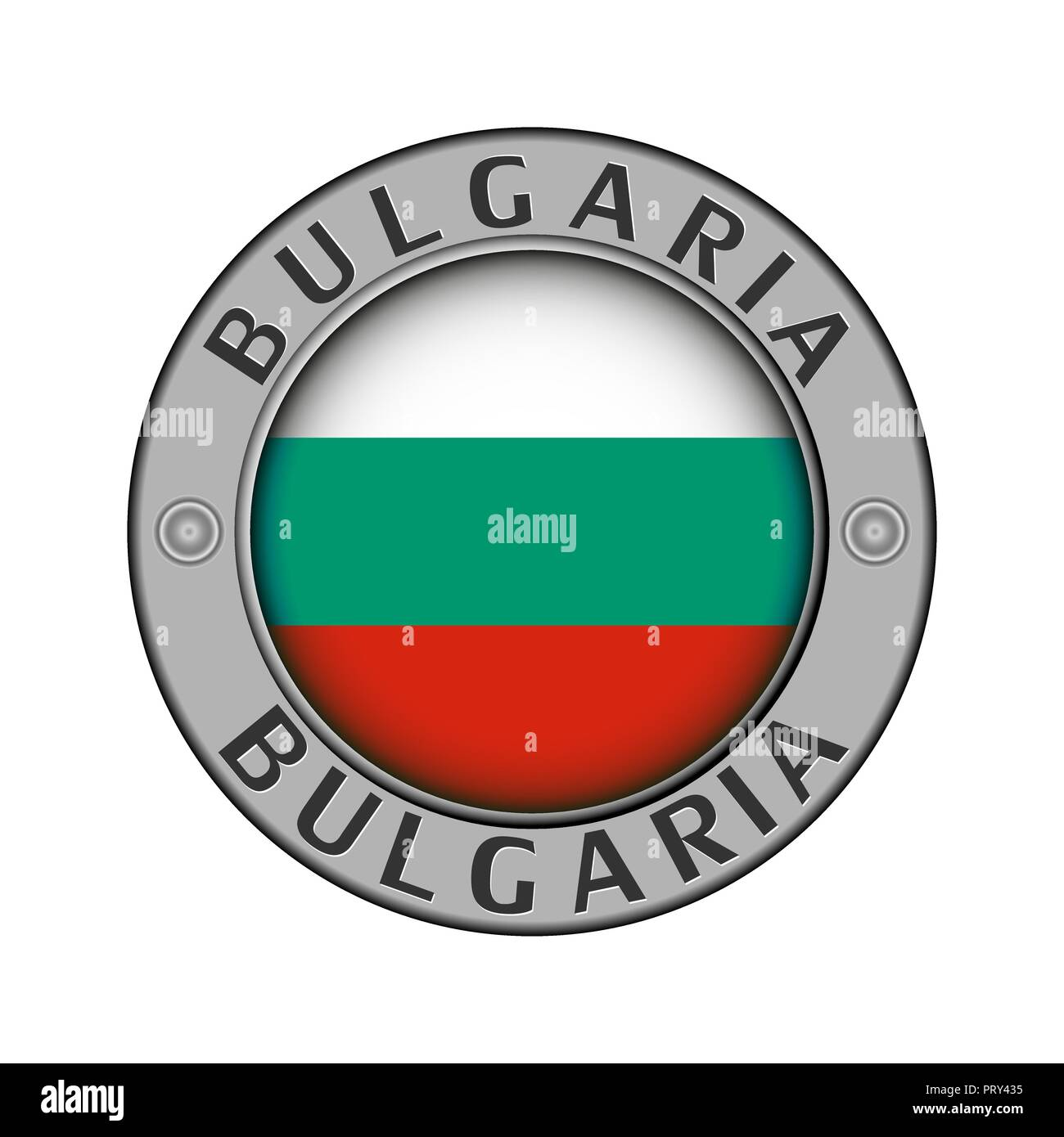 Médaillon rond en métal avec le nom du pays, la Bulgarie et un pavillon rond 9b5c0554e41