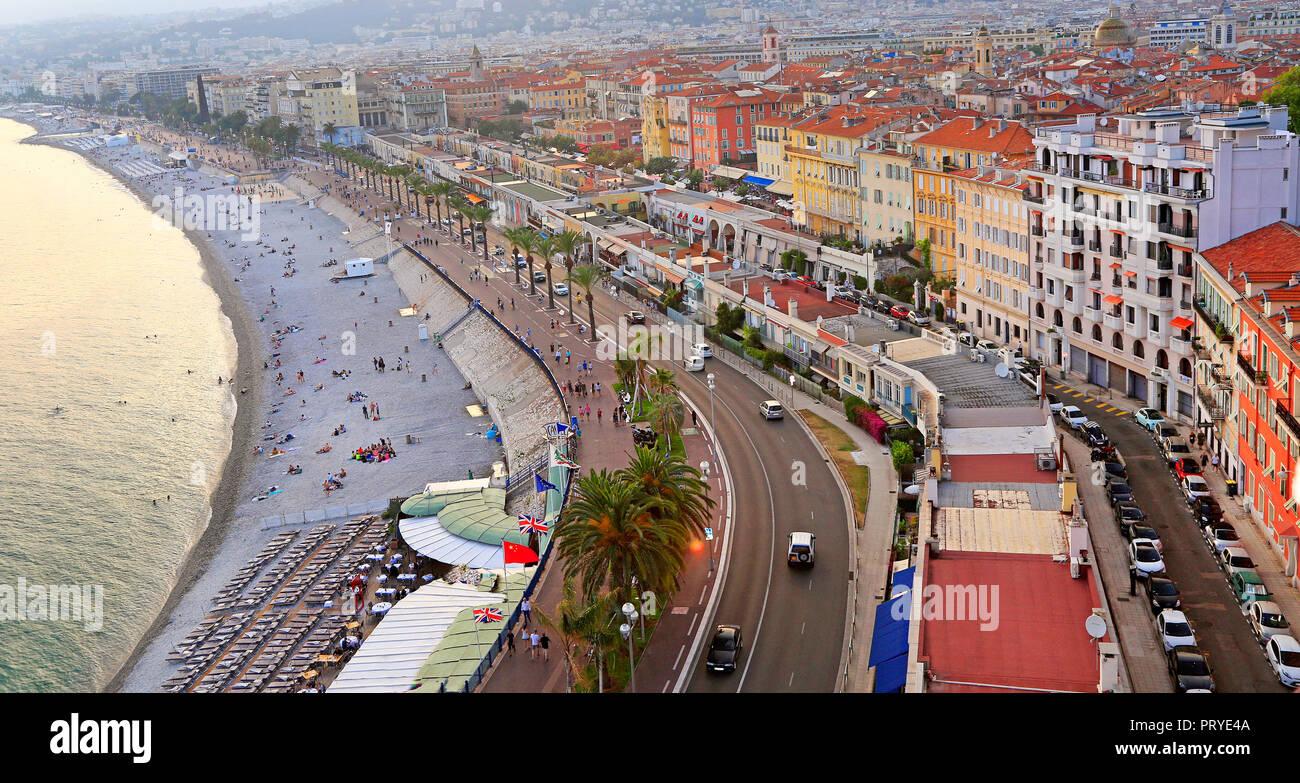 Vue sur la mer Méditerranée, la Baie des Anges, Nice, France Photo Stock