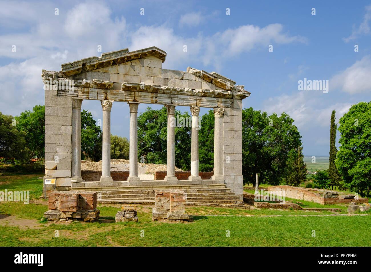 L'Albanie, Fier County, ancienne ville d'Apollonia, portail de bouleutérion Photo Stock