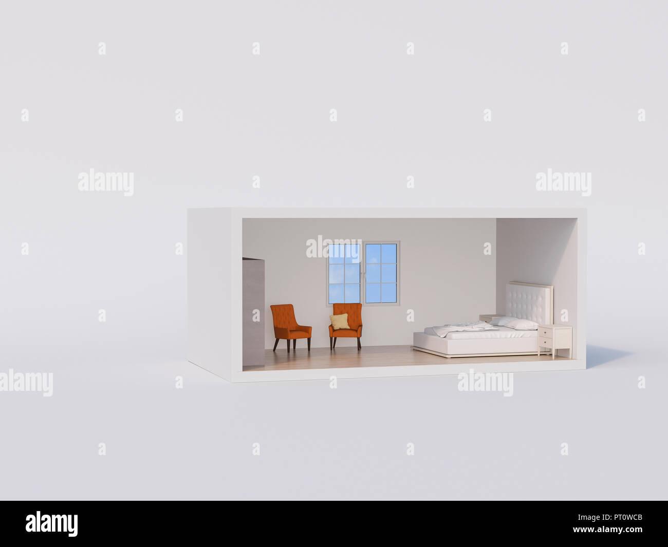 D, modèle d\'une chambre à coucher avec lit et fauteuils orange blanc ...