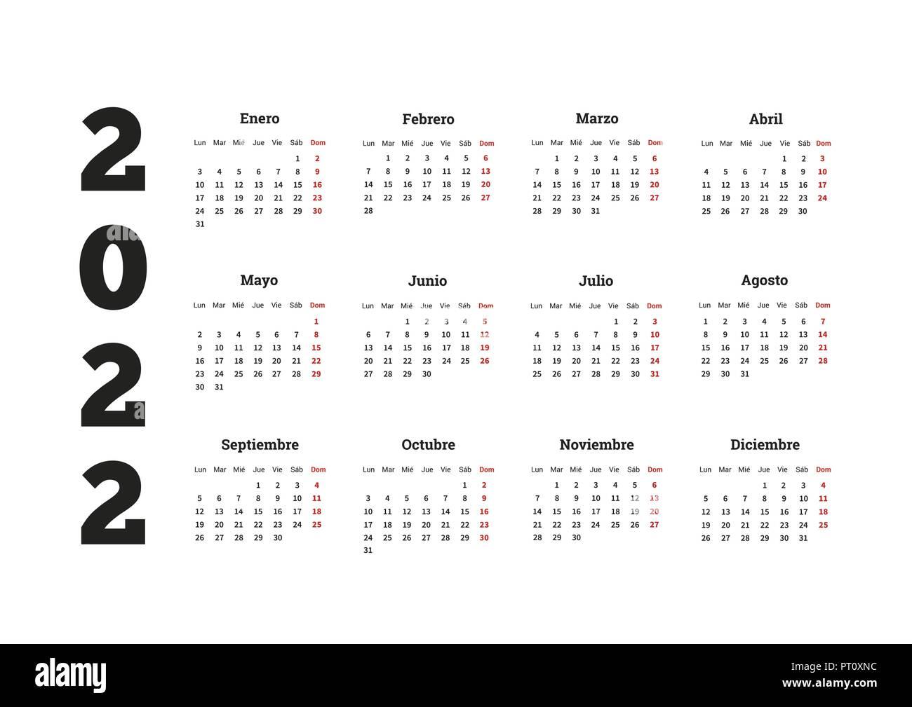 Calendrier Espagnol 2022 L'année 2022 calendrier simple en espagnol, on white Image