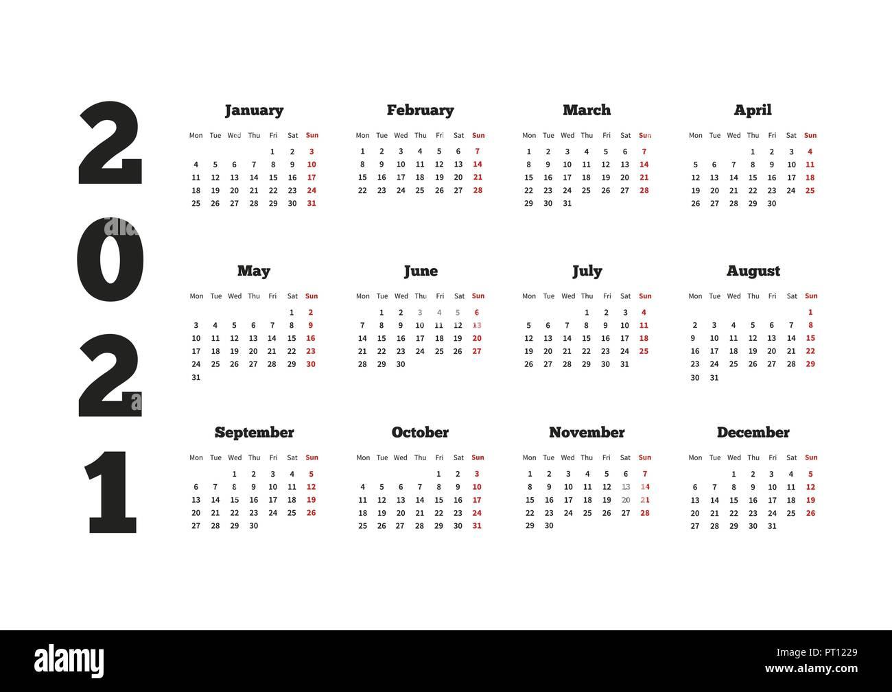 Calendrier sur l'année 2021 avec semaine à partir de lundi, A4