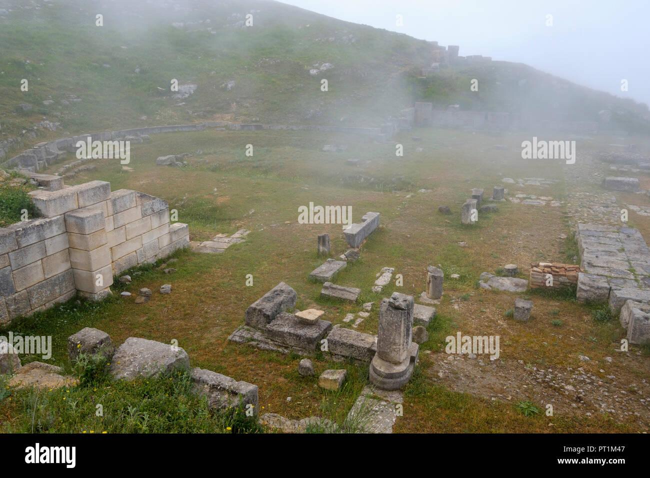 L'Albanie, Fier, ancienne ville du comté de Byllis, amphithéâtre Photo Stock