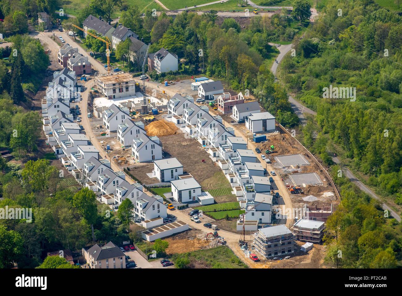 Zone de développement dans la forme d'une ellipse, An der Holtbrügge Springorum, piste cyclable, maisons individuelles, de la Ruhr, Bochum, Rhénanie du Nord-Westphalie, Allemagne, Europe, Photo Stock