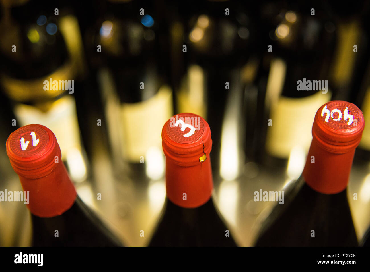 Dégustation de vin, bouteilles de vin, des chiffres Banque D'Images