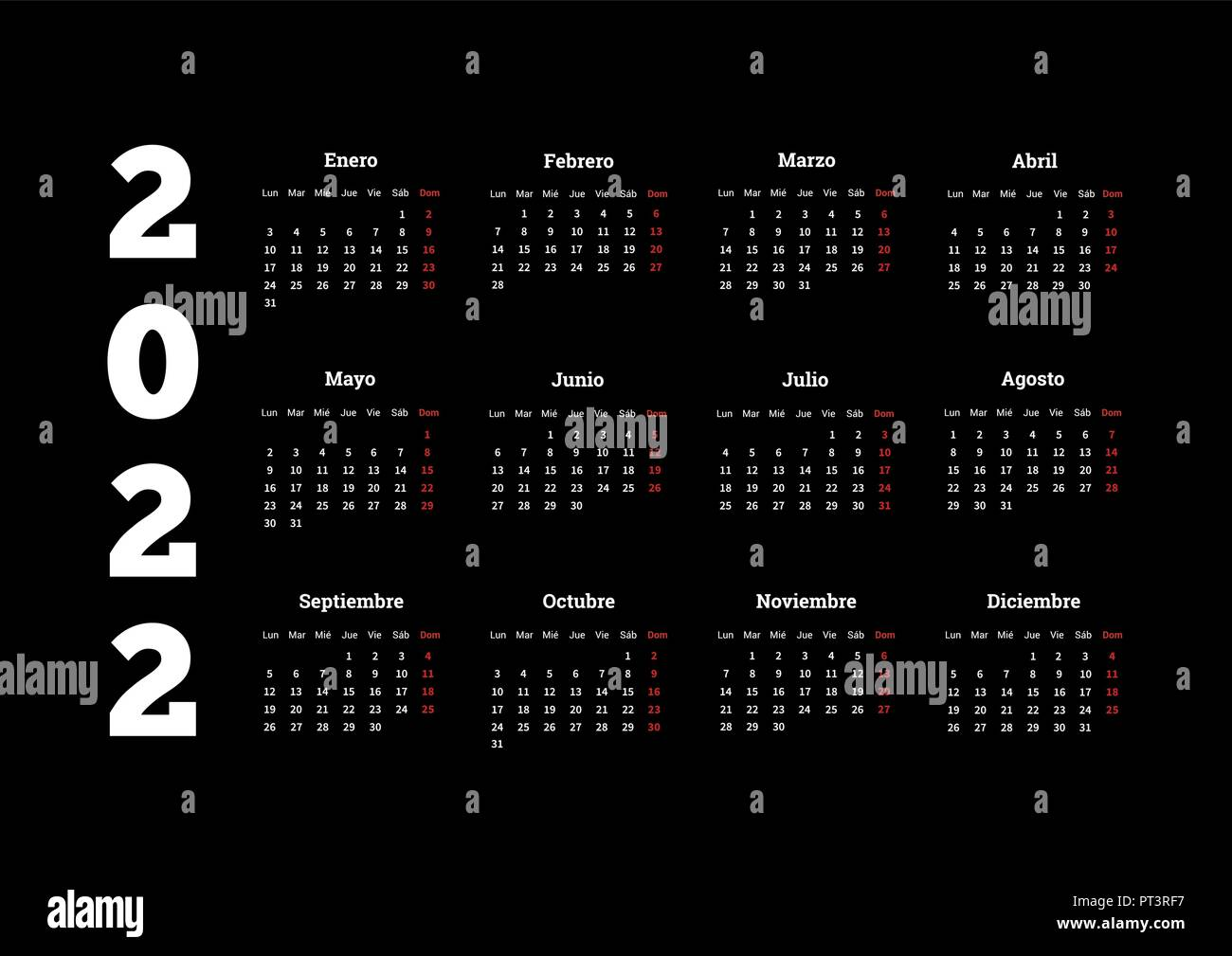 Calendrier Espagnol 2022 L'année 2022 calendrier simple en espagnol sur noir Image