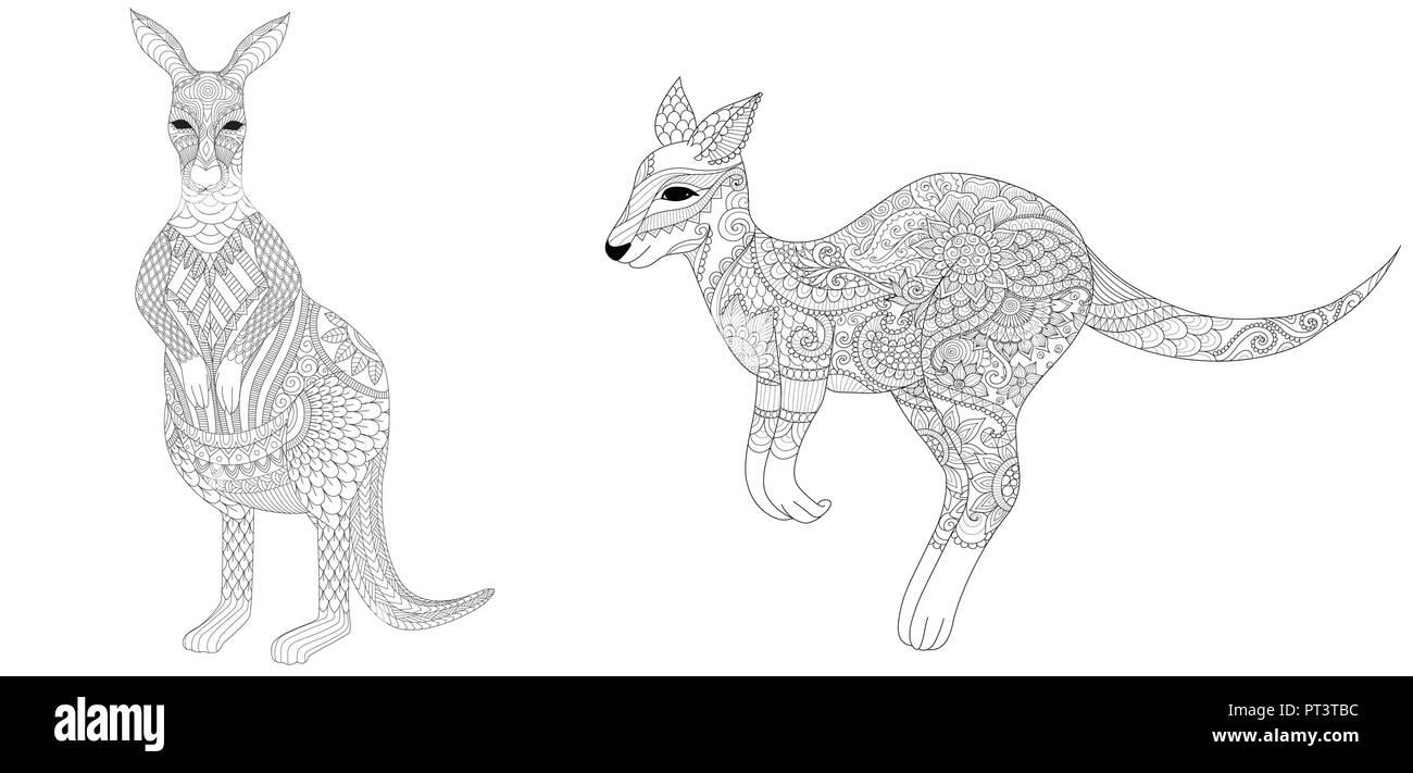 Coloriage Mandala Kangourou.Ensemble De Zentangle Kangourous Pour L Impression Et De Coloriage