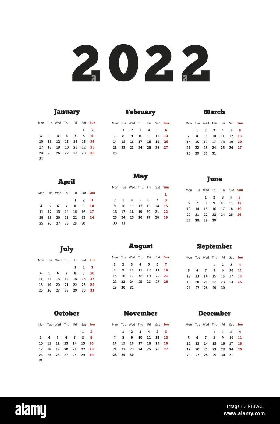 Calendrier De Lannée 2022 Calendrier sur l'année 2022 avec semaine à partir de lundi, format