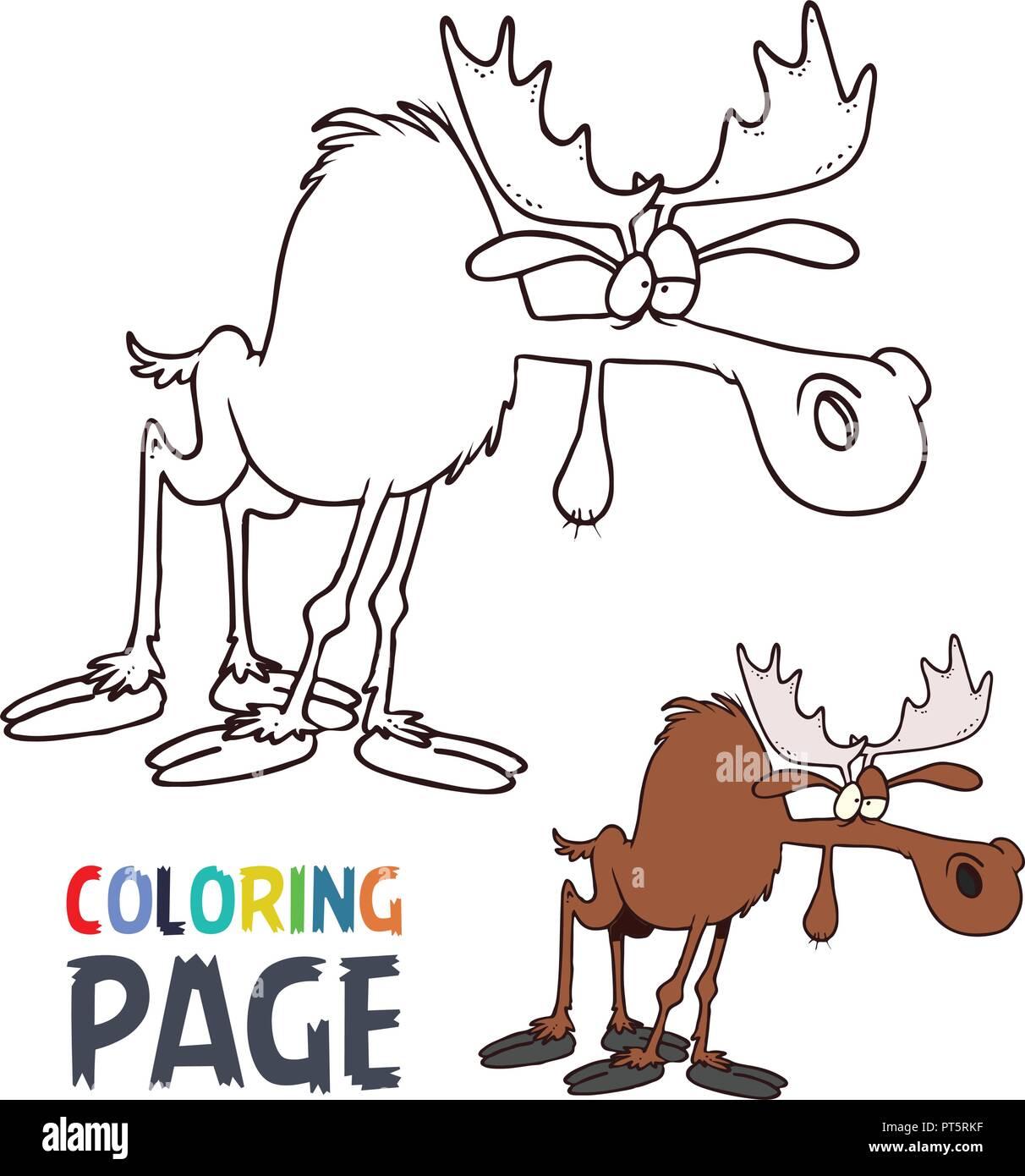 Coloriage dessin animé l'orignal Image Vectorielle Stock   Alamy