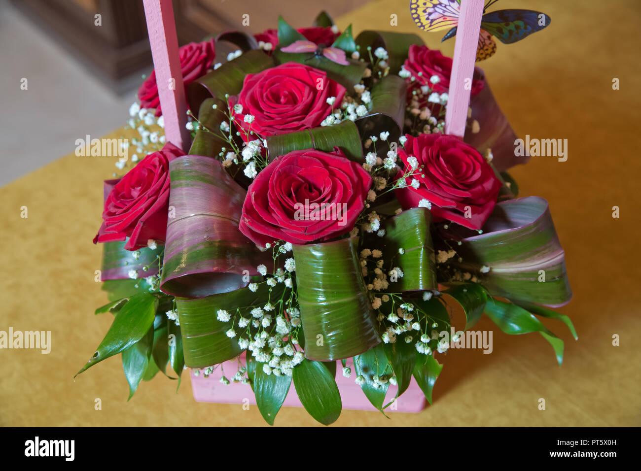 Magnifique Bouquet De Roses Rouges Close Up Beau Bouquet De Fleurs