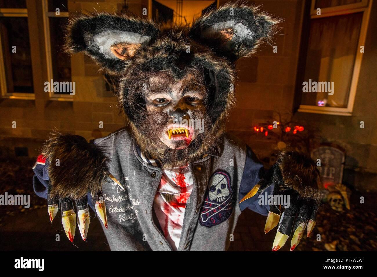 Jeune garçon portant Costume Halloween fait maison Photo Stock
